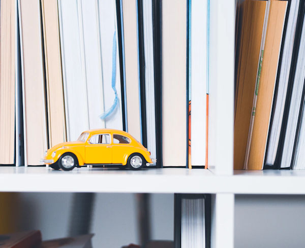 Yellow Beetle with Books by Olia Gozha (detail)