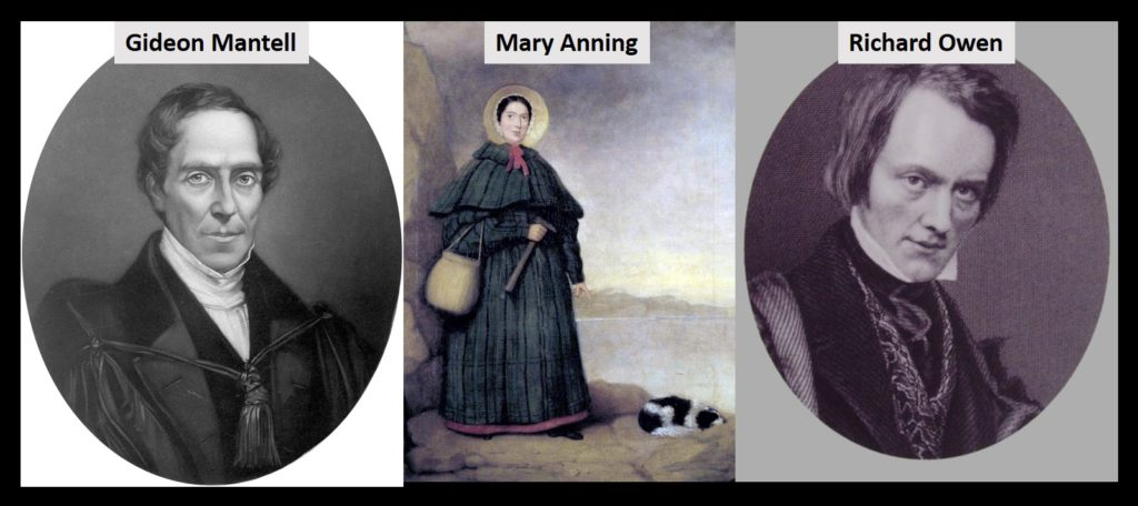 Gideon Mantell, Mary Anning, and Richard Owen