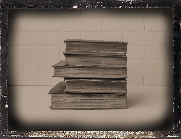 stacked books by Andrew Draper (detail)